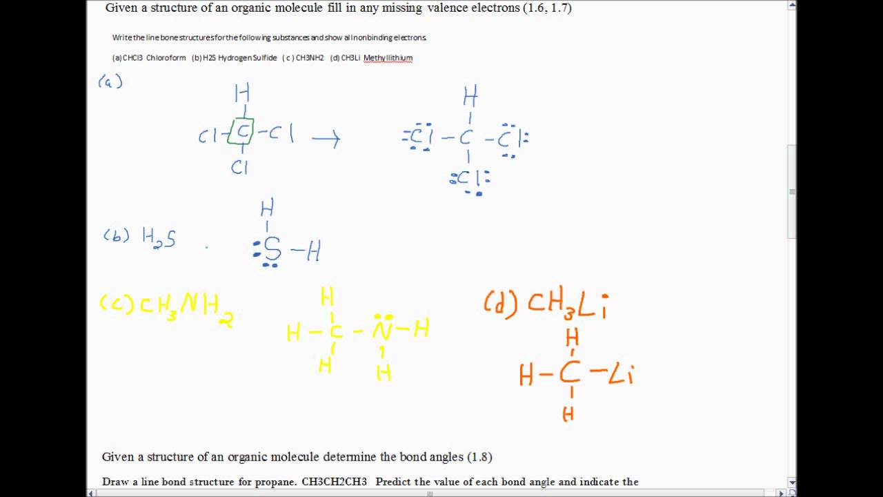 Organic Chemistry   Line Bond Structures    Hybridization    Skeletal Structures