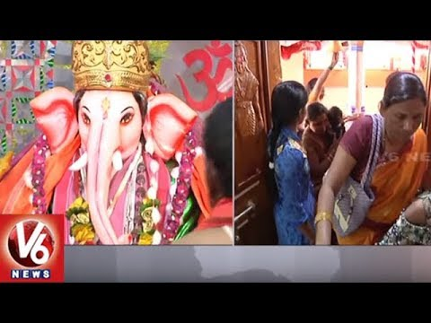 Huge Rush of Devotees at Palaj Ganesh Temple | V6 News
