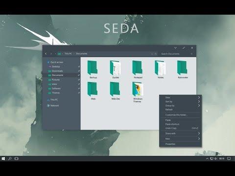 Windows 10 Flat Dark Theme Skinpack Tutorial 2017 | Seda Beautiful Theme