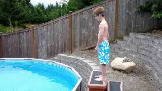 Logan jumps in the new pool...