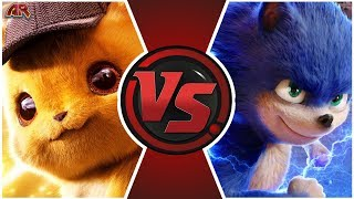 DETECTIVE PIKACHU vs MOVIE SONIC (Pokémon vs Sonic Memes) CARTOON FIGHT CLUB
