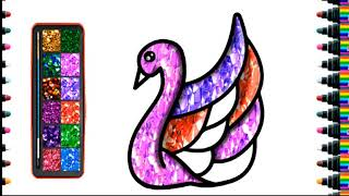 Draw and color children's Swan for children   bé yêu