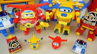Robocar Poli and Super Wings transformers airplane and car toys rescue marine pack