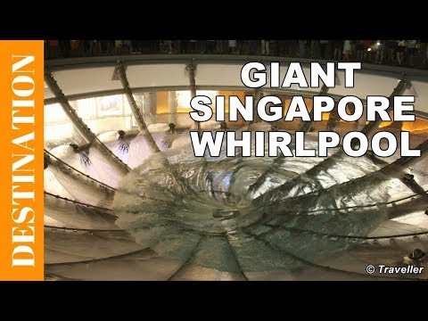 Singapore attractions - Giant Whirlpool outside Marina Bay Sands Hotel - Rain Oculus, by Ned Khan