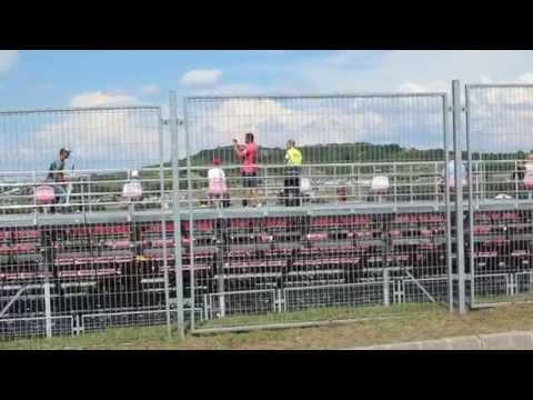 Hungaroring 2014 Formula1 sound check behind Gold3 tribune.