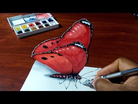 3D Red Butterfly - Optical Illusion