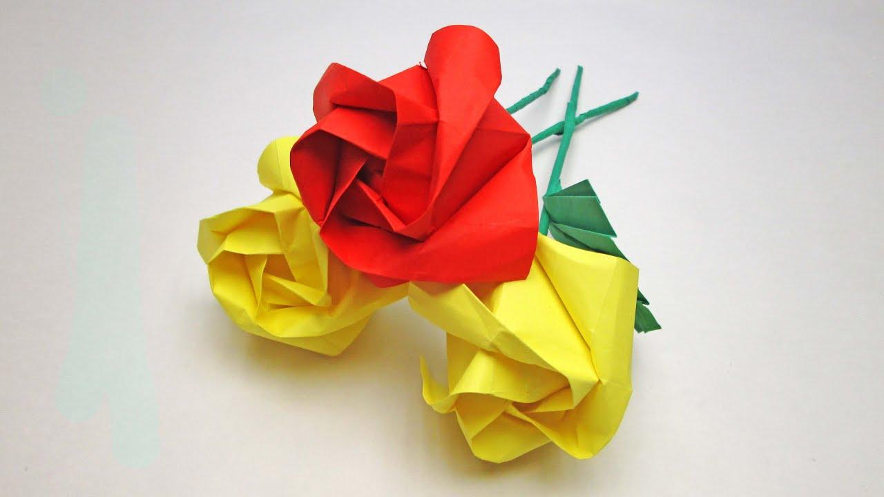 Роза из бумаги фото пошагово в