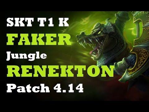 SKT T1 K Faker full troll Renekton jungle vs NJWS Watch Kha'Zix | KR SoloQ Patch 4.14 | 1080p