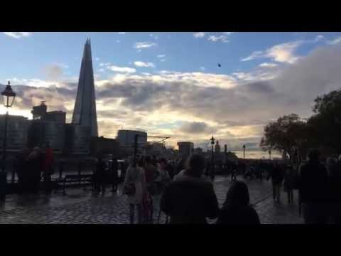 Chinook helicopter hovers over Tower of London and The Shard