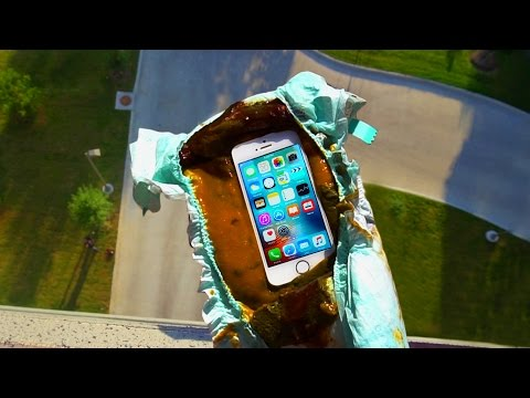 Can a Dirty Diaper Protect iPhone SE from a 100 FT Drop Test? - GizmoSlip