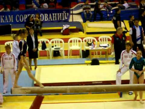 Anna Rodionova, Kristina Sidorova, Viktoria Komova and Aliya Mustafina- Beam Warmup