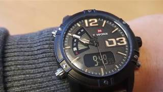 Naviforce 9095 Leather NF9095 - Dual display watch - Unboxing