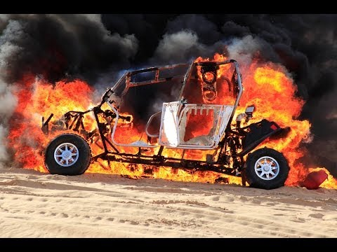 Polaris RZR 4 catches fire in Glamis Sand Dunes.