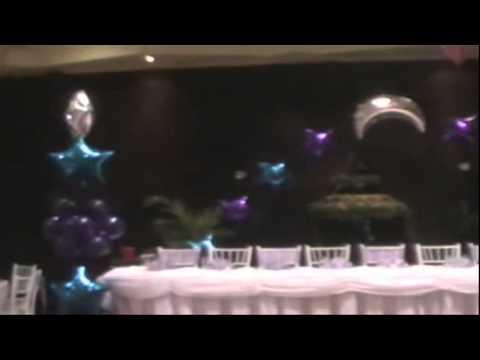 decoracion con globos arco de xv años