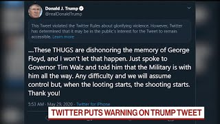 Twitter Puts Warning on Trump's Floyd Tweet For Glorifying Violence