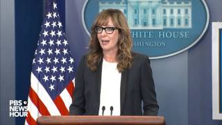 Allison Janney makes surprise visit to White House briefing