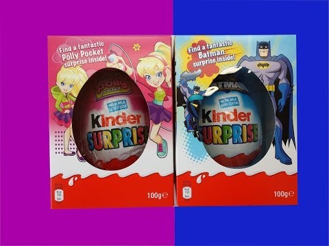 Kinder Surprise Maxi Eggs Batman and Polly Pocket Big Toy Easter Edition
