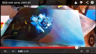 Blue rose spray paint art