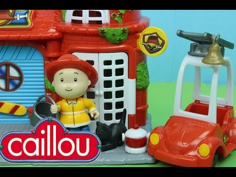 Caillou Fire Station Playset with Caillou the Firefighter Rescues a Kitty Cat from a Tree!