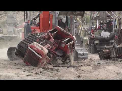 Track Hoe VS. Bulldozer Fight to the death!!!