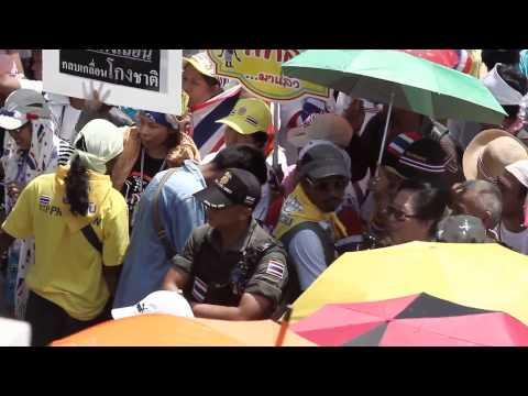 Bangkok (Thailande) 12-05-2014 Suthep Thaugsuban: De Lumpini à Government House