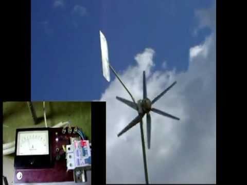 ВЕТРОГЕНЕРАТОР В РАБОТЕ.  self-made wind generator
