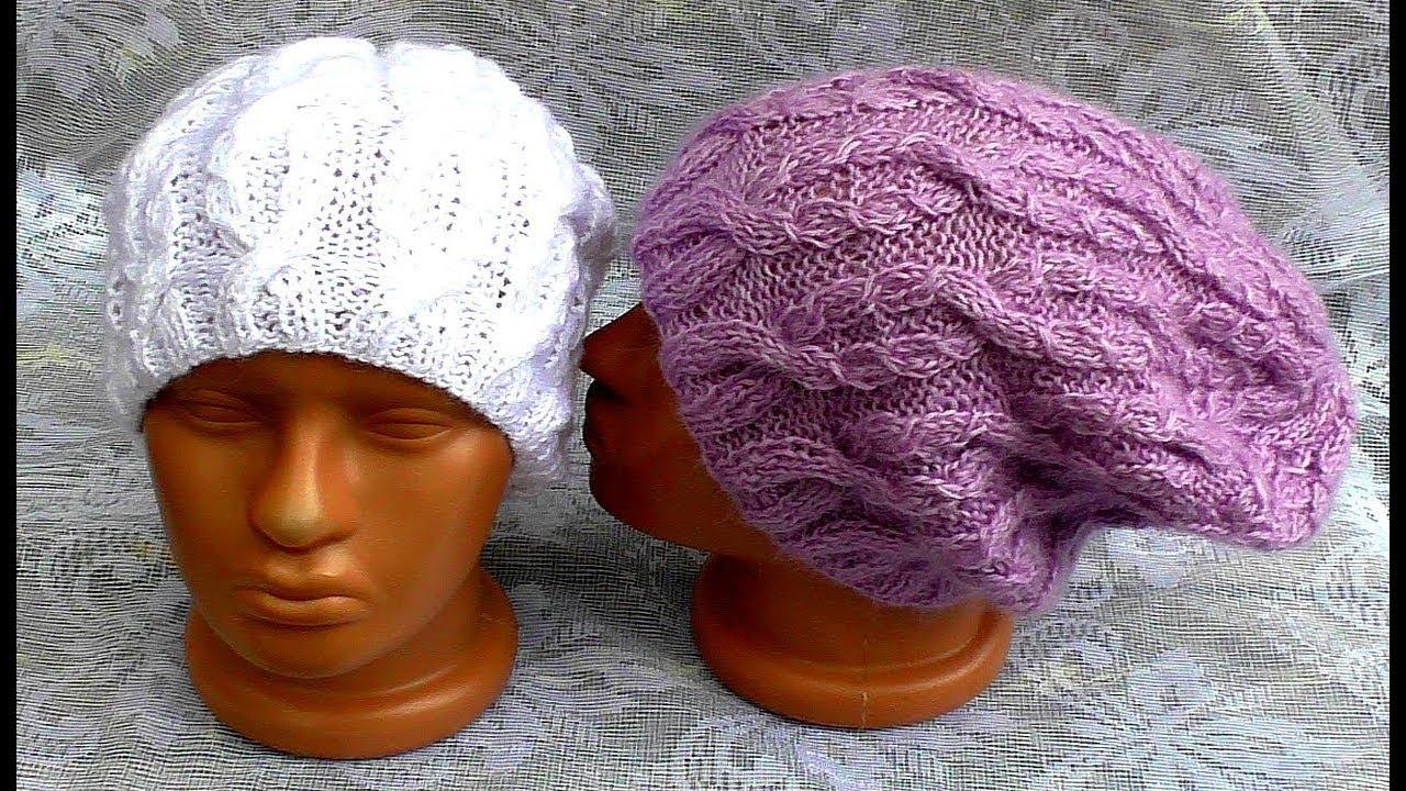 107Видео вязание спицами шапочки