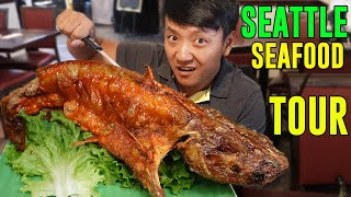 FIVE POUND Fried Catfish! SEAFOOD Tour of SEATTLE