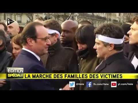 Marche Républicaine: l'émotion de François Hollande et Patrick Pelloux