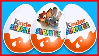 Disney Zootopia Cartoon for Kids. New Collection. Kinder Surprise Eggs Unboxing