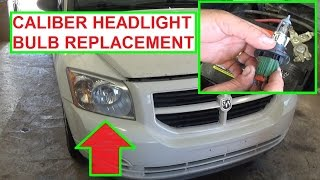 Headlight Bulb Replacement Dodge Caliber.  How to Replace headlight bulb 2007 - 2012 Caliber