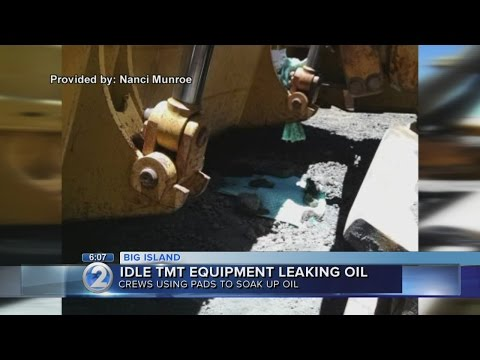 Idle equipment leaks oil at TMT construction site