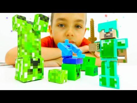Стив на Арене с Мобами. Видео с игрушками Лего Майнкрафт