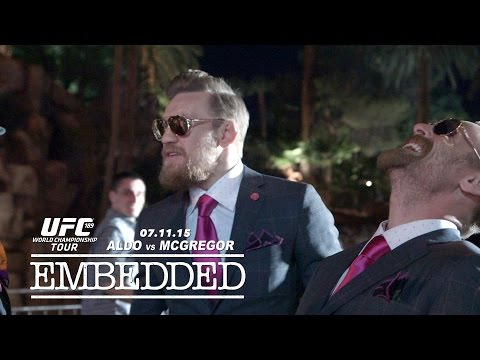 UFC featherweight champion Jose Aldo and challenger Conor McGregor go Hollywood in Sin City.