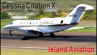 Lovely Cessna Citation X (N998QS) taxi and departure out of St. Kitts Airport