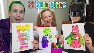 Hilarious WRONG MARKER CHALLENGE 3 LEGO Characters!!! Batman, Harley Quinn, & Joker!!!
