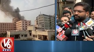 Fire Accident In Somajiguda Katriya Hotel | Fire Dept. Douse Fire | V6 News