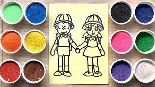 Đồ chơi trẻ em TÔ MÀU TRANH CÁT Nôbita và Xuka cùng chị Chim Xinh   Learn colors Sand painting