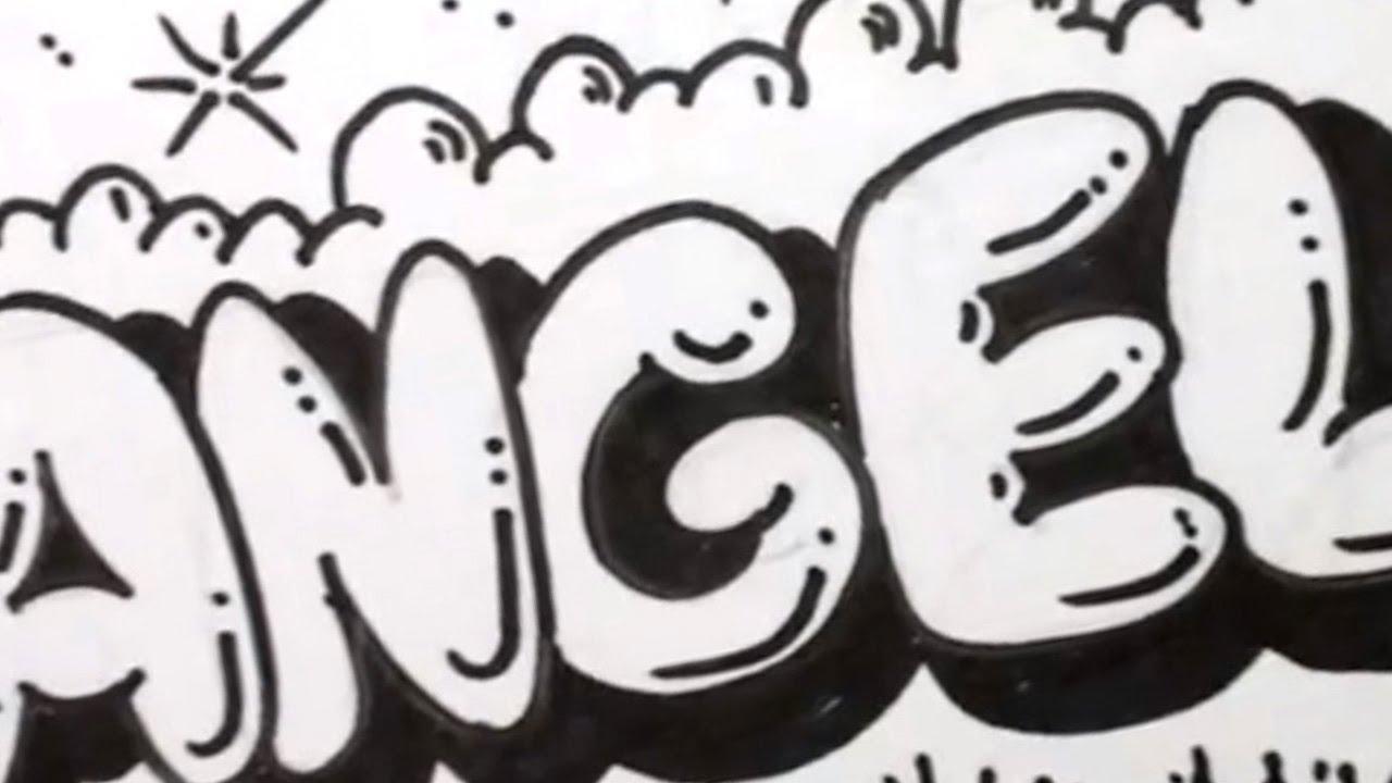 How to draw bubble letters angela in graffiti letters - Graffiti alphabet bubble ...