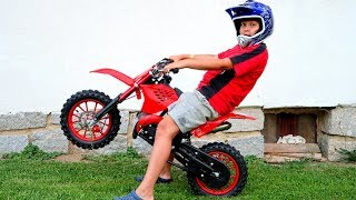 Funny Baby Biker Ride on New Dirt Cross Bike, Pocket Bike, Sportbike! Stunts, Drifts in Real Life