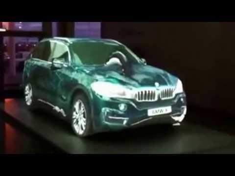 BMW X5  F15  2014 лазерная реклама в салоне