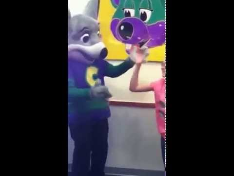 Lasey my granddaughter dancing with Chuck E Cheese