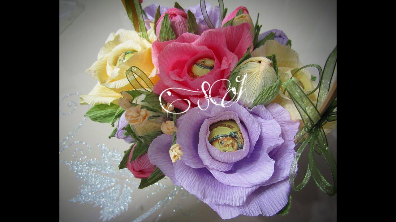 Розы из гофробумаги с конфетами мастер класс