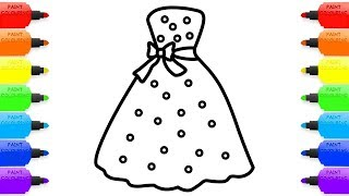 Coloring dress drawing for girls | Drawing Dresses For Princess | Coloring Pages Videos for Kids