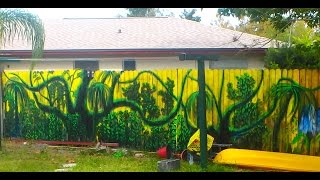 Как быстро украсить Забор - How to Paint  MURAL  wooden fence with brush  20.11.2014