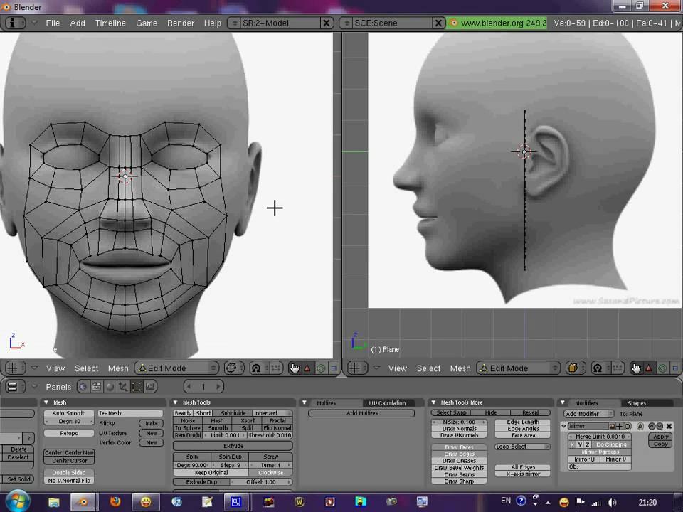 Blender 2 64 Character Modeling Tutorial Part 2 : Blender head modeling tutorial part youtube