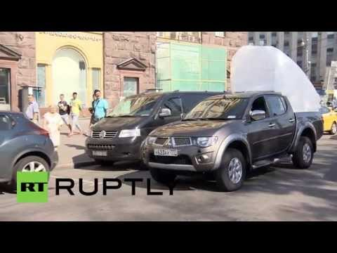 Russia: Massive toilet dumped outside McDonalds