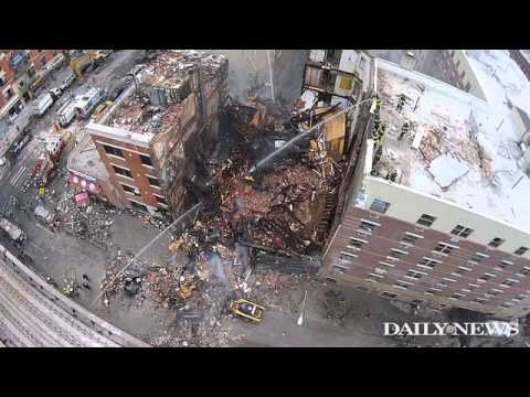 Drone captures scene at East Harlem explosion that flattened two buildings