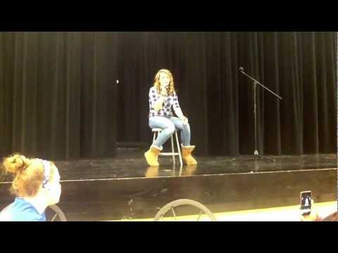 Kennedy Faith Damron singing I Won't Give Up at Woodford County Middle School