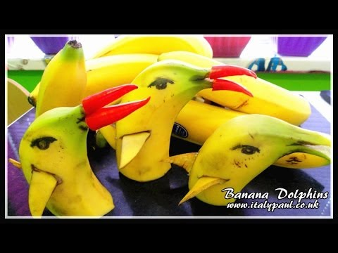 Art In Banana Show- Fruit Carving Yellow Dolphins Garnish